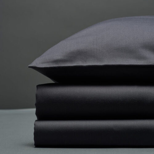 Tamsiai pilkas satino patalynės komplektas | Bedroommood