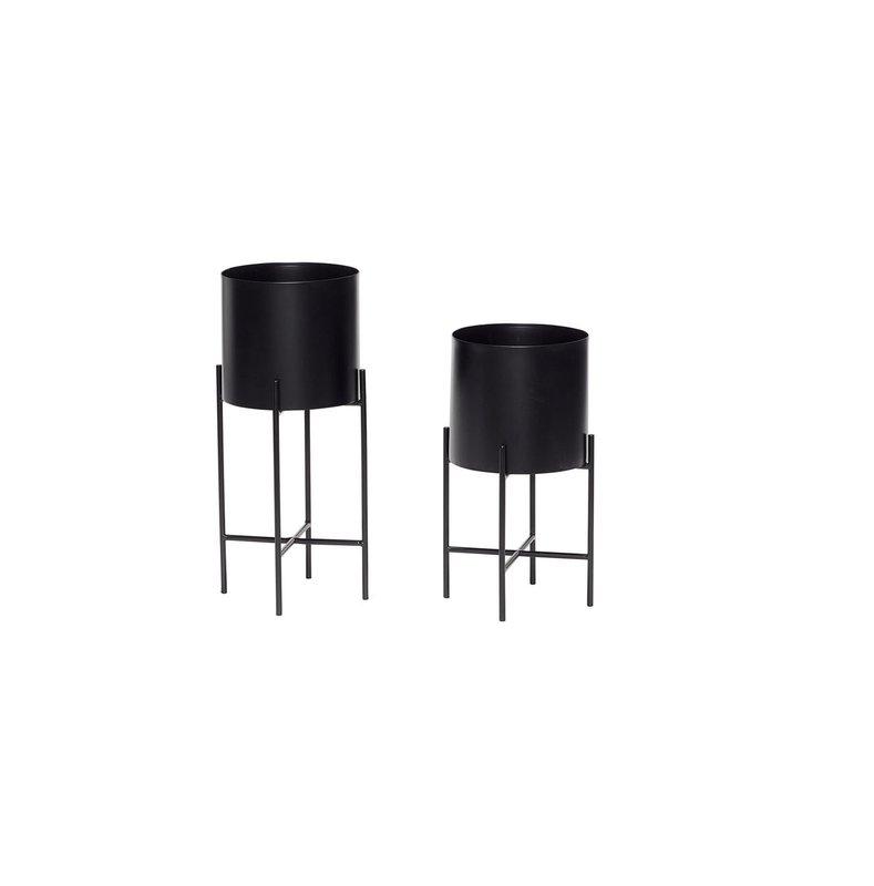 Juodas vazonų komplektas | Hubsch