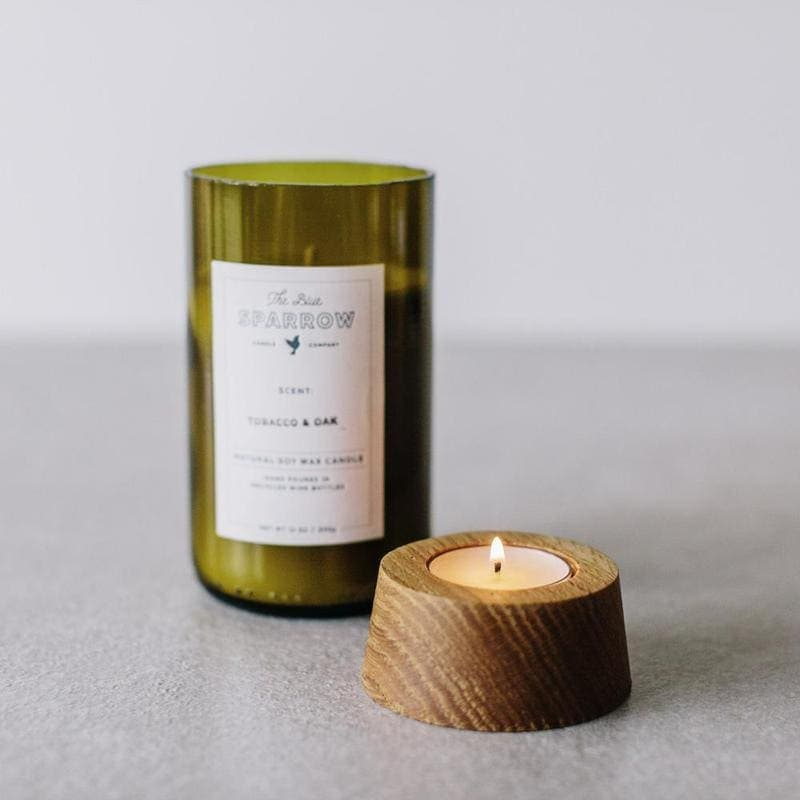 """Verveine"" žvakė vyno butelyje su žvakide | Blue Sparrow"